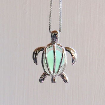 Sea Glass Turtle Opaque Jade Green Milk Glass Locket  Sterling Silver Honu