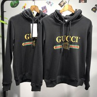 GUCCI Couple Sweatshirt  Hooded Coat Long Sleeve Loose Top Hoodies