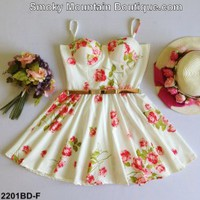 White Floral Multi Color Bustier Dress with Adjustable Straps Size S/M - BDF2201 - Smoky Mountain Boutique