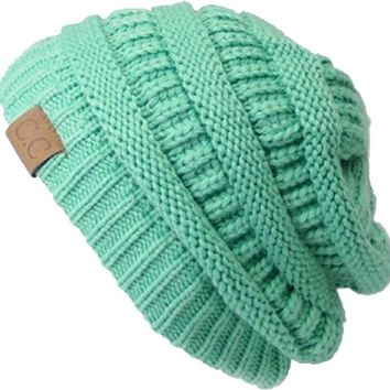 Slouchy Cable Knit Beanie Skully Hat, One-Size, Mint