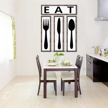 Eat, Fork, Knife, Spoon, Framed Wood Sign, Kitchen Decor, Housewarming