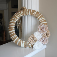 Summer Wreath, Everyday Wreath, Rustic Wreath, Rustic Home Decor, Rustic Wedding Decor, Twine Wrapped Wreath, Flower Wreath, Mother's Day