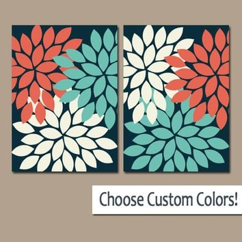 Flower Wall Art, CORAL Turquoise Navy Bedroom Canvas or Prints, Bathroom Decor, Flower Bedroom Pictures, Living Room Artwork, Set of 2