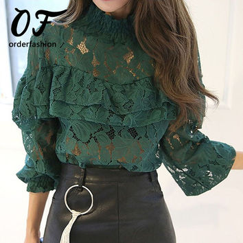 Hollow Lace Long Sleeve Ruffle Blouse