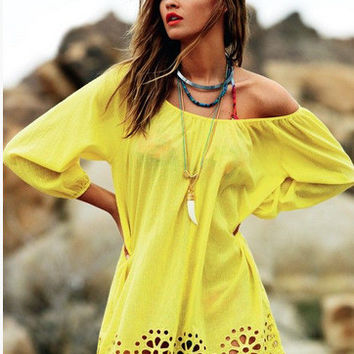 Yellow Long Sleeve Floral Bottom Cut-Out Mini Dress