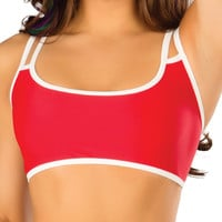 Red & White Adjustable Crop Top