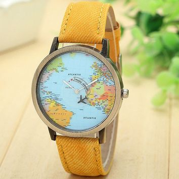New Global Travel By Plane Map Wrist Watch Fabric Band | Yellow