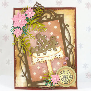 Christmas Card - Gingerbread Cookies - Seasons Greetings - Handmade Card - Sweet Treats