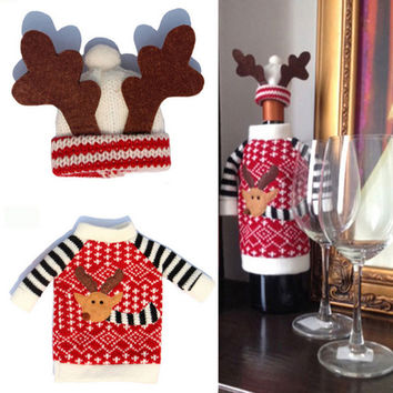 1 Set Cute Sweater Red Wine Bottle Cover Bags Santa Claus Dinner Table Decoration Clothes With Hats Home Party Decors——Christmas Gift