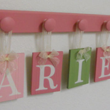 Green Pink Wall Letters Baby Name Wall Hanging for ARIEL with 5 Wood Hooks Nursery Decor