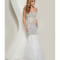 Jasz Couture 2013 Prom - Strapless White Rhinestoned Mermaid Gown - Unique Vintage - Cocktail, Pinup, Holiday & Prom Dresses.