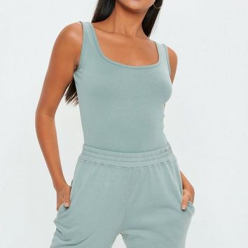Missguided - Gray Sleeveless Square Neck Bodysuit