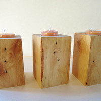 Block Candle Holders, Set of 3, Wood Candle Holders, Candle Holders, Tea Light Candle Holder, Rustic Candle Holders