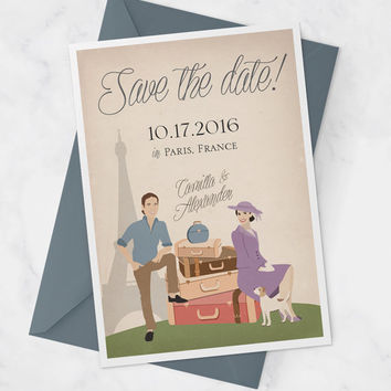 Destination Wedding Save the date Card with Couple Portrait, Vintage Travel Save the Date Cards for Paris Wedding