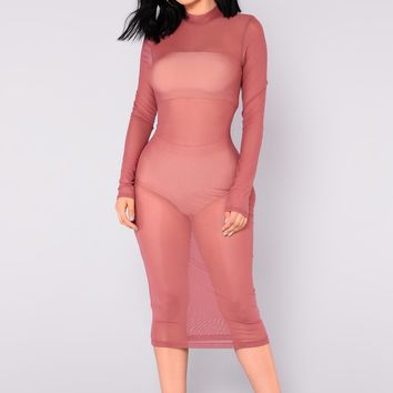 Noelle Mesh Dress - Rose