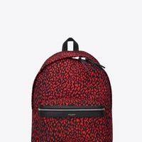 SAINT LAURENT CLASSIC HUNTING BACKPACK IN BLACK AND STRAWBERRY BABYCAT PRINTED NYLON CANVAS AND BLACK LEATHER | YSL.COM