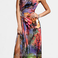Floral print evening gown by Terani Couture