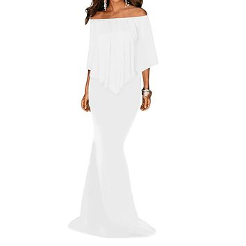 White Off Shoulder Overlay Ruffle Evening Dress