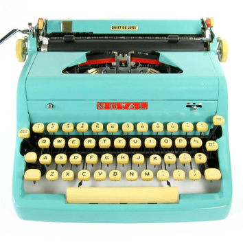 1957 Turquoise Royal Quiet DeLuxe Typewriter with Original Case and Vintage Metal Ribbon Spools