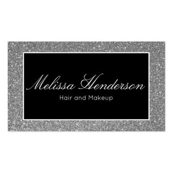Silver Glitter Beauty Professional Appointment Business Card