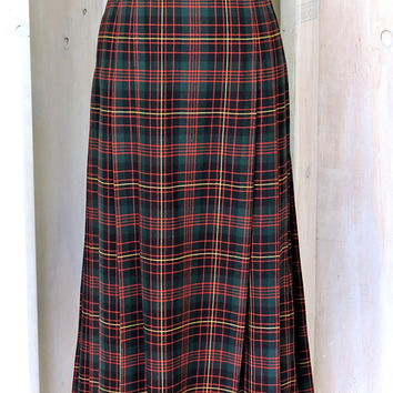 Vintage 80s Pendleton maxi skirt / size XL 15 / 16 / plaid pleated maxi skirt / wool tartan maxi skirt