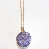 Druzy Dot Necklace- Purple