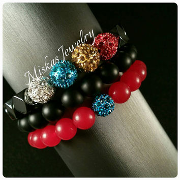 Three Strand Mix Bead Bracelet Set/Stack w/Crystal Alloy Spacer Beads