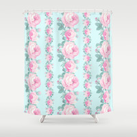 Cottage chic Roses floral pattern Shower Curtain by Mercedes