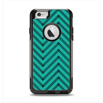 The Teal & Black Sketch Chevron Apple iPhone 6 Otterbox Commuter Case Skin Set