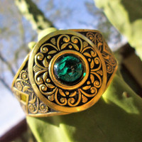 Vintage Gold Etched Cuff Bracelet Green Glass Cabachon Jewelry Gift Idea St Patricks Day