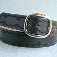 Black Leather Belt - Hand-Tooled Classic 3-Tool Border Design - Full-Grain Cowhide - Wide Belt / Vegetable Tanned Leather