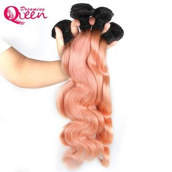 1B Pink Ombre Body Wave Brazilian Human Hair Weave 3 Bundles Non Remy Peachy Ombre Hair Extensions Dreaming Queen Hair Products
