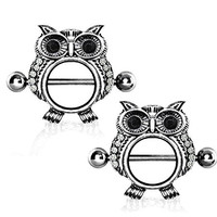 Owl Gemmed Nipple Shields Rings Barbell Barbells 14g 316L Stainless Steel - Sold as a Pair