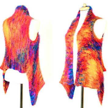 Galaxy Vest - Knitted Rainbow Nebula Sweater - Soft Hand Dyed Luxury Yarn