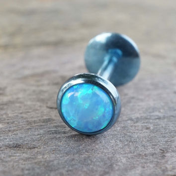 Steel Light Blue Fire Opal 16 Gauge Cartilage Earring Tragus Monroe Helix Piercing