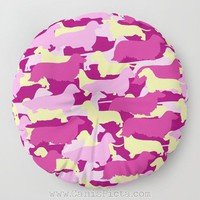 Camo Dachshund Floor Pillow Round Square Long Dog Decorative Cover Cushion Camouflage Doxie Cream Pink Fuchsia Lavender Magenta Orchid Plum