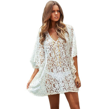 Summer Style Swimsuit Coverups Womens Sexy White Lace Kaftan Beach Wrap Dress Bikini Cover Up Dresses VM41129 Black Friday