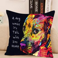 Stylish Dog Cushion Cover Creative Animal Lens Pillow For Living Room Bed Room 43x43cm