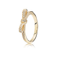 Sparkling Bow Gold Ring