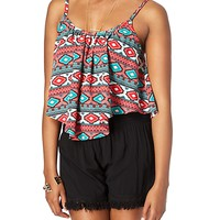 Coral & Mint Aztec Cropped Swing Tank