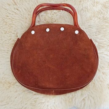 Vintage 1960s Whiskey Suede + Lucite Handle Bag
