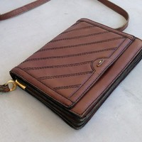 Selling on RETRuly - Vintage Brown Leather Handbag, Woman Shoulder Messenger Purse, Small Briefcase - $36.00