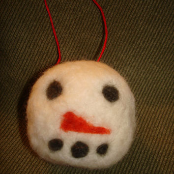 Needle Felted Snowman Christmas Ornament