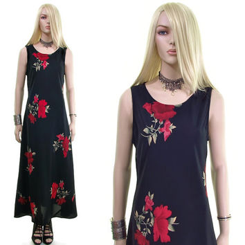 english red rose vintage 90s dress 80s dress goth dress floral dress 90s goth witch grunge dress tea dress black maxi dress womens clothing