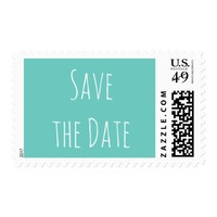 Save the Date Teal and White Postage