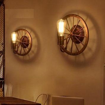 Loft Style Iron Edison Wall Sconce Industrial Lamp Wheels Vintage Wall Light Fixtures Antique Indoor Lighting Lampara Pared