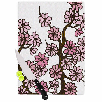 """Art Love Passion """"Cherry Blossoms"""" White Pink Cutting Board"""