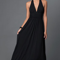 Low V-Neck Black Jersey Halter Prom Dress