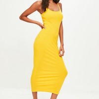 Missguided - Yellow Strappy Ribbed Midi Dress