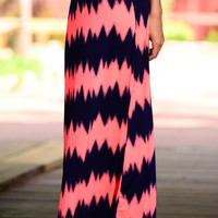 Faded Chevron Maxi, Neon Coral